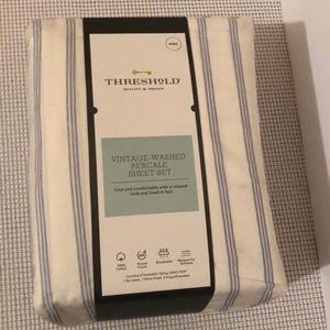 Threshold vintage-washed percale sheet set. King